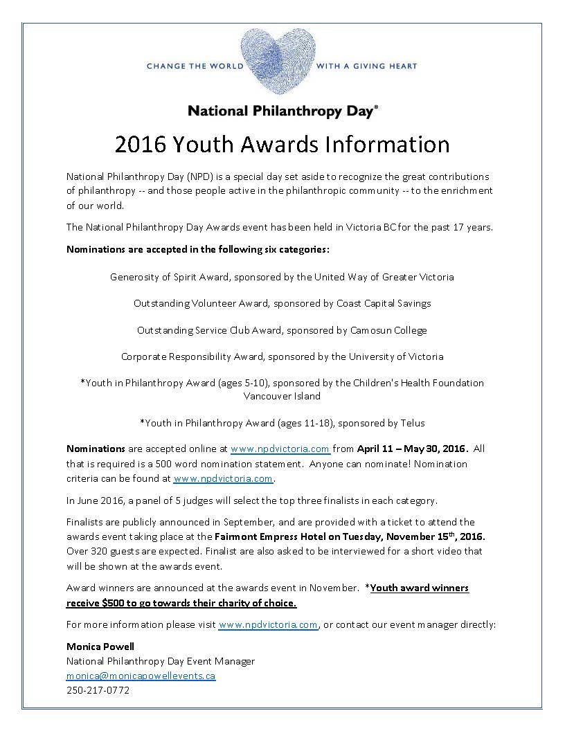 2016 Youth Awards Information