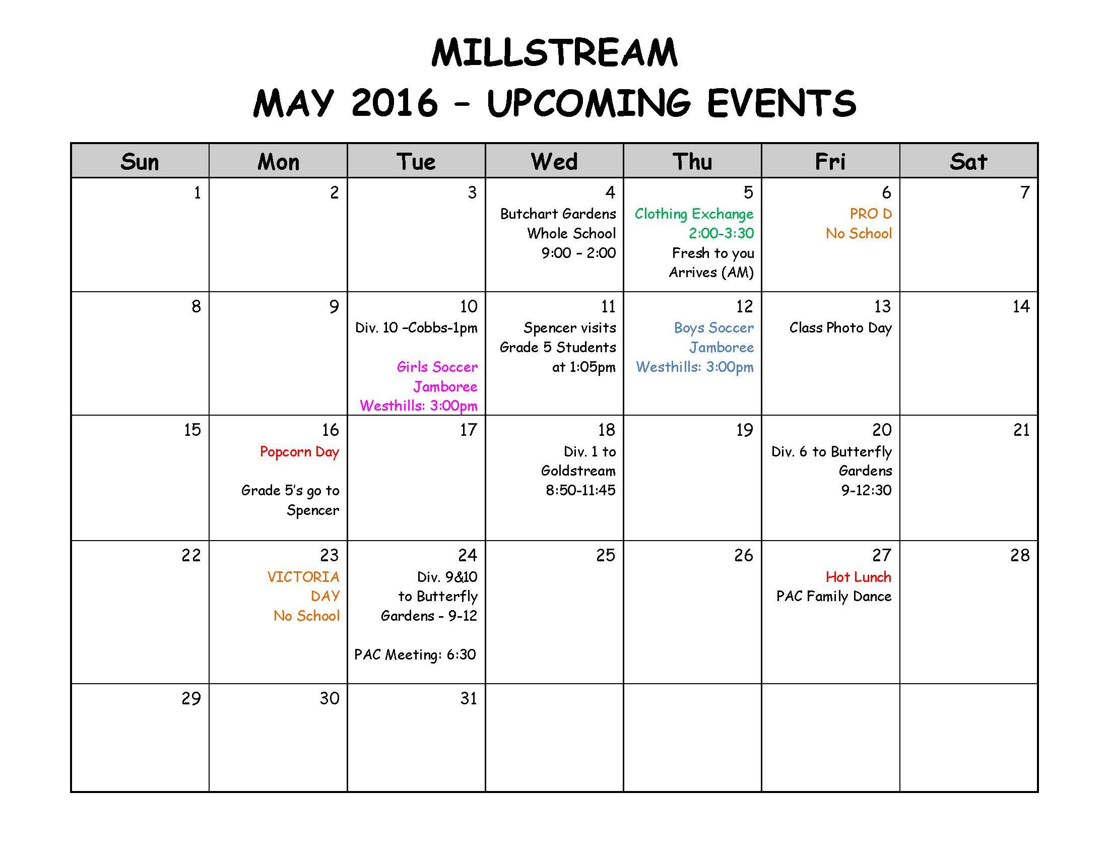 Parent Calendar - MAY