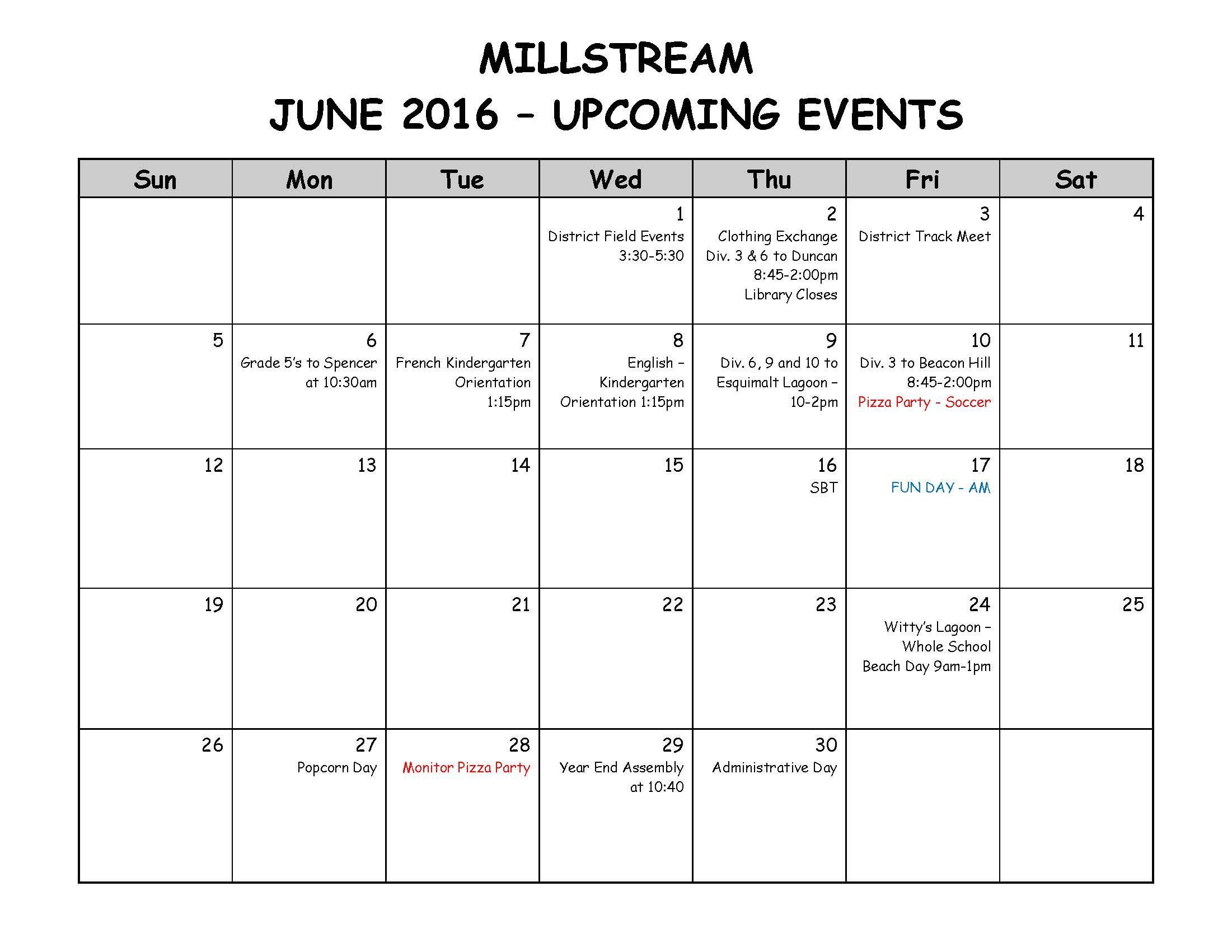 JUNE - Parent Calendar