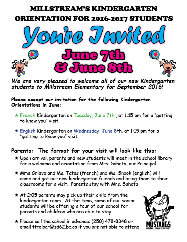 Kindergarten Orientation Invite