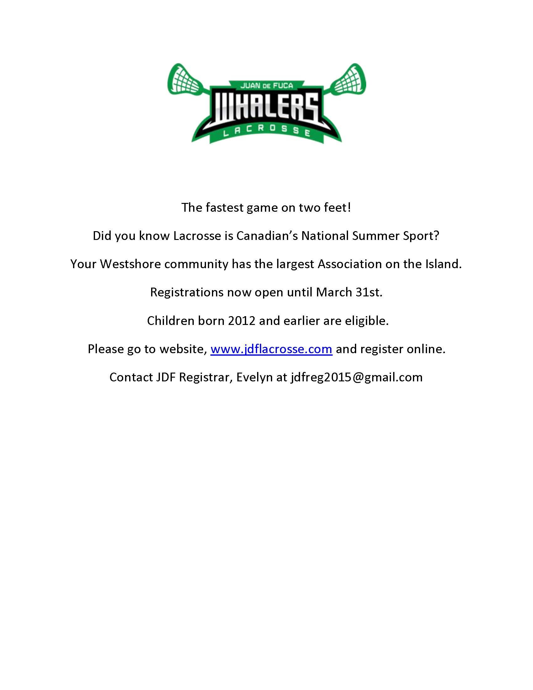 Registration Flyer - JDF Lacrosse 2017