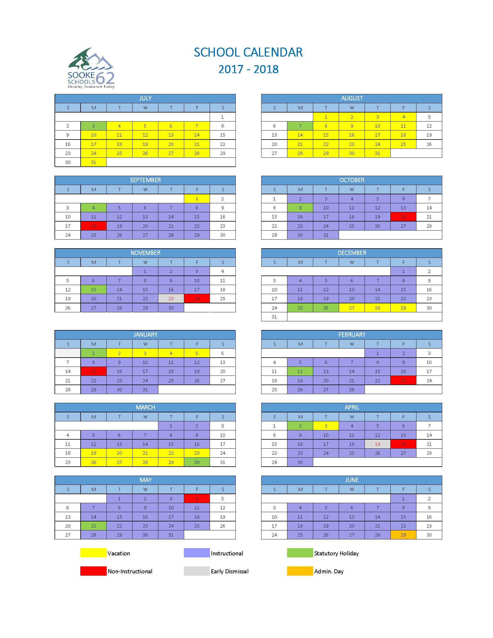 School Calendar 2017-18 Colour