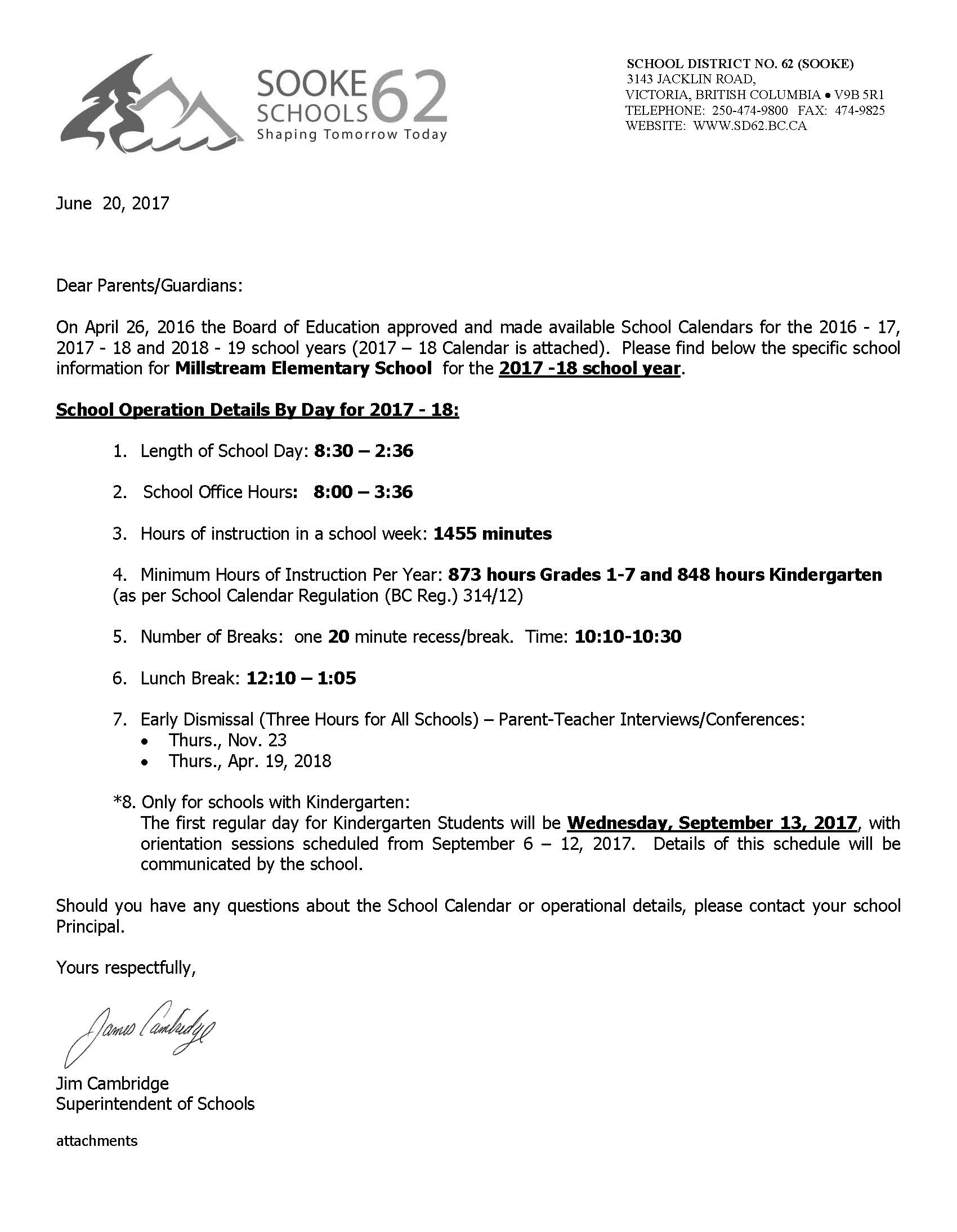 School Operation Details – 2017 18 – Letter to Parents 004