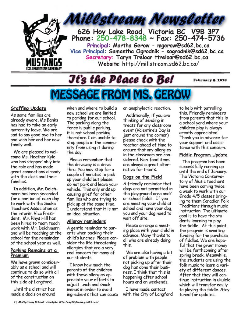 Millstream Newsletter - Feb 9_Page_1